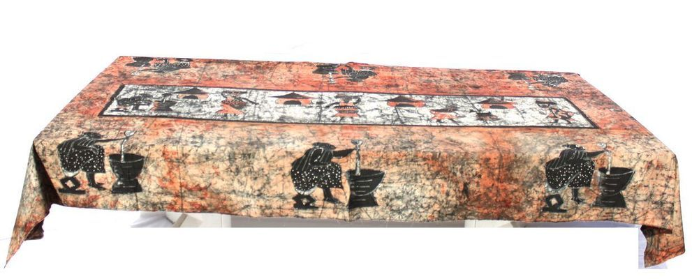 Nappe batick rectangulaire africaine 12 places