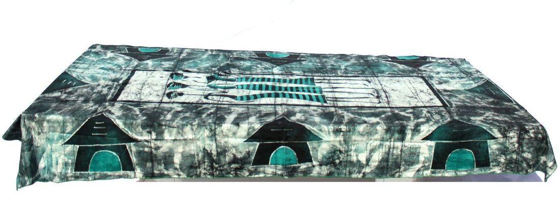 Nappe rectangulaire batick africaine 8 places scène de village