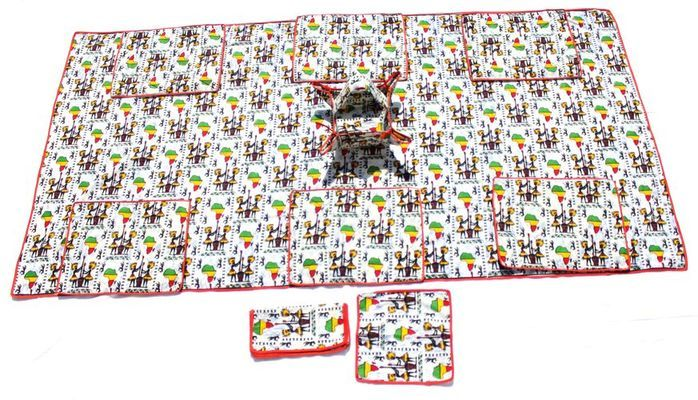Nappe rectangulaire de table africaine 6 places