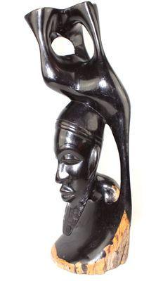 Statuette buste homme en bois ébène 5752-S4Y-593