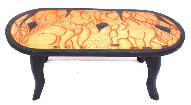 Table basse africaine motif éléphant et lion 4223-BX-159