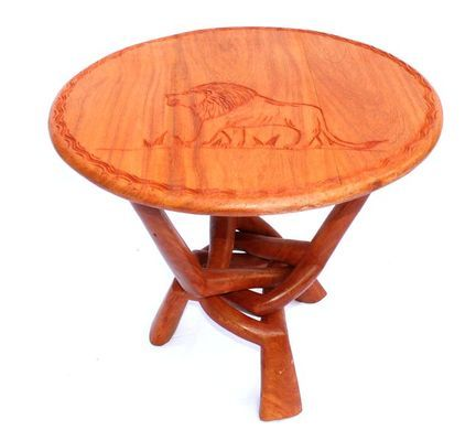 Table basse Africaine ronde  lion TBAL1